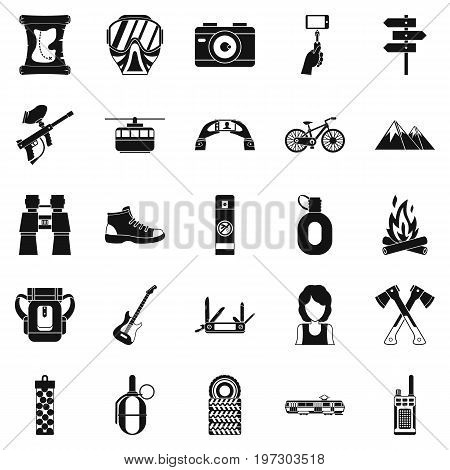 Rest by the fire icons set. Simple set of 25 rest by the fire icons for web isolated on white background