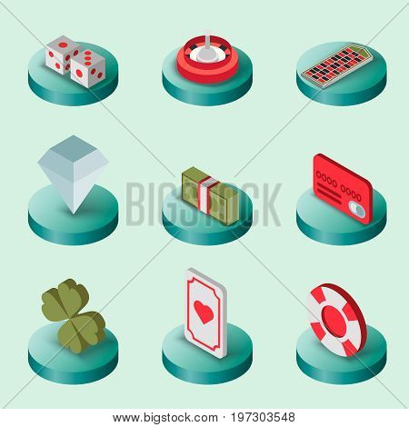 Casino flat isometric set. Design icons. Vector illustration, EPS 10