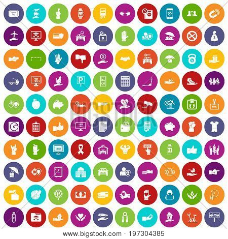 100 hand icons set in different colors circle isolated vector illustration