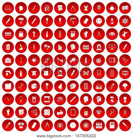 100 paint icons set in red circle isolated on white vectr illustration