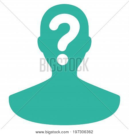Unknown Person vector icon. Flat cyan symbol. Pictogram is isolated on a white background. Designed for web and software interfaces.