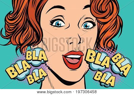 beautiful woman bla bla. Conversations, rumors and gossip. Pop art retro vector illustration