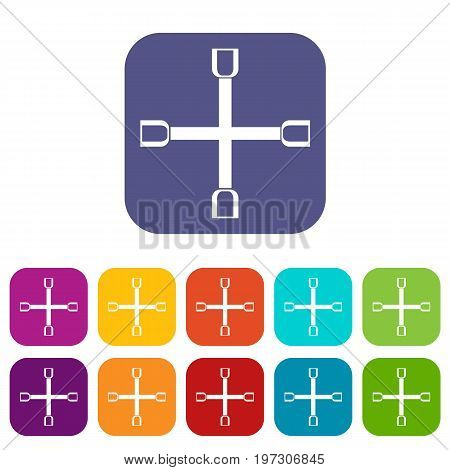 Wheel wrench cross icons set vector illustration in flat style in colors red, blue, green, and other