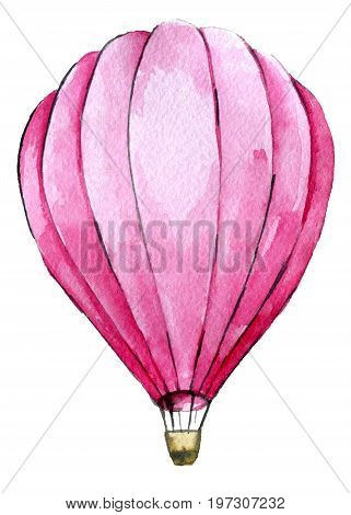 watercolor sketch of pink hot air ballon isolated on white background