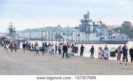 Warships Stand Moored On The Neva River