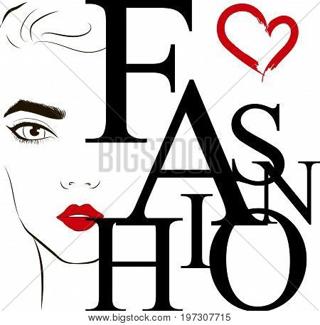 Fashion Label With The Face Of Fashionable Young Woman With Red Lipstick On Her Lips. Fashion Vector