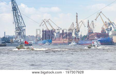 Small Warships Go On The Neva River