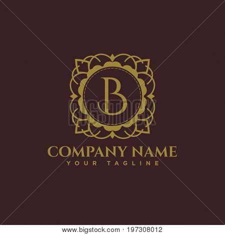 Luxury logo. Calligraphic pattern elegant decor elements. Vintage vector ornament Signs and Symbols. The Letters B. luxury logo template. EPS8,EPS10