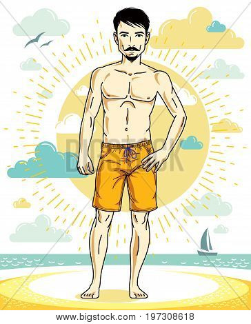 Handsome man with beard and mustaches standing on tropical beach and wearing beachwear shorts. Vector human illustration. Summer vacation theme.