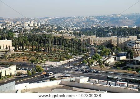 JERUSALEM ISRAEL - JUNE 27 2017: View on the Governmental Campus in the Givat Yam quarter in Jerusalem