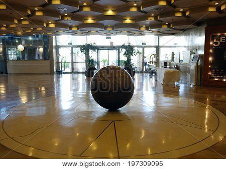 JERUSALEM ISRAEL - JUNE 28 2017: Interior of the lobby of the Crowne Plaza Hotel in Jerusalem