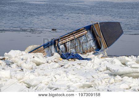 Upturned Boat In Ice