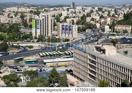 JERUSALEM ISRAEL - JUNE 28 2017: 2017: View of the Givat Yam district in Jerusalem. Inscriptions: announcements about events names of institutions