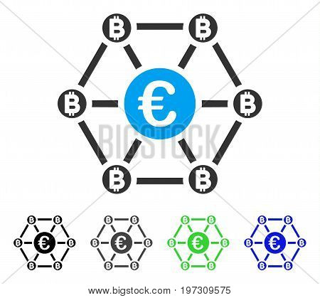 Bitcoin Euro Net Structure flat vector pictograph. Colored bitcoin euro net structure gray, black, blue, green icon variants. Flat icon style for graphic design.