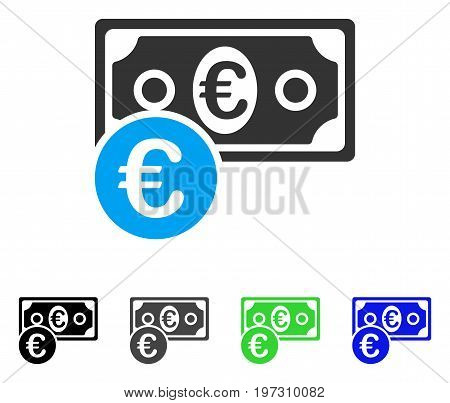 Euro Cash Money flat vector pictograph. Colored Euro cash money gray, black, blue, green icon versions. Flat icon style for web design.
