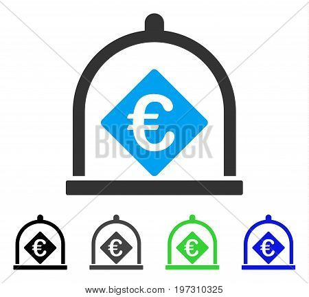 Euro Deposit flat vector pictogram. Colored Euro deposit gray, black, blue, green icon variants. Flat icon style for web design.