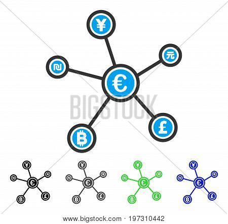Euro Financial Network Links flat vector illustration. Colored euro financial network links gray, black, blue, green icon variants. Flat icon style for application design.