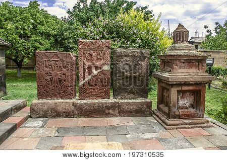 Group ancient tombstones of carved cross in the Church of the Martyr Gayane in Echmiadzin