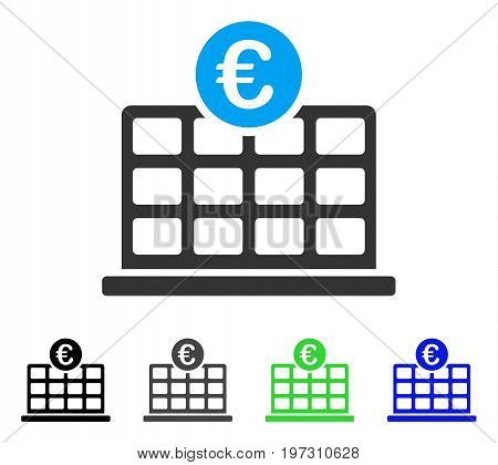 Euro Hotel flat vector icon. Colored Euro hotel gray, black, blue, green pictogram versions. Flat icon style for application design.