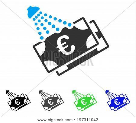 Euro Money Laundry flat vector pictograph. Colored Euro money laundry gray, black, blue, green pictogram versions. Flat icon style for web design.