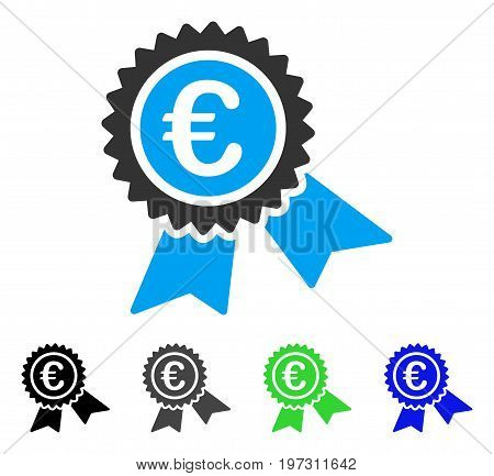 European Guarantee Seal flat vector pictograph. Colored European guarantee seal gray, black, blue, green icon versions. Flat icon style for application design.