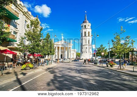 Gediminas Avenue At Cathedral Square Of Vilnius Baltic