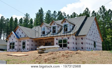 BOGART, GEORGIA, USA - JULY 24, 2017: Residential construction is one of the fastest growing industries in the U.S. The state of Georgia is part of this boom