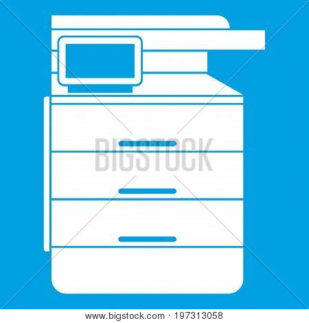 Multipurpose device, fax, copier and scanner icon white isolated on blue background vector illustration