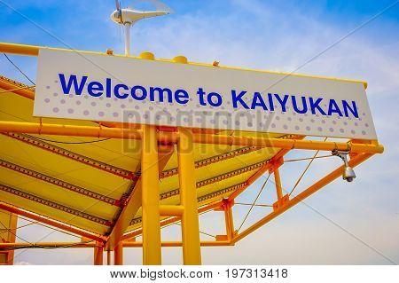 OSAKA, JAPAN - JULY 18, 2017: Informative sign near of Tempozan Ferris Wheel in Osaka, Japan. It is located in Tempozan Harbor Village, next to Osaka Aquarium Kaiyukan.