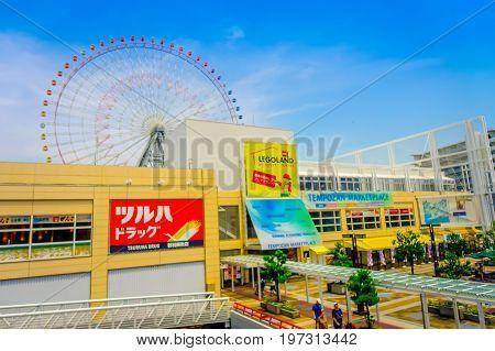 OSAKA, JAPAN - JULY 18, 2017: Close up frame trust of Tempozan Ferris Wheel in Osaka, Japan. It is located in Tempozan Harbor Village, next to Osaka Aquarium Kaiyukan.