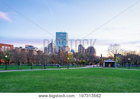 People In Boston Common Public Park In Downtown Boston America