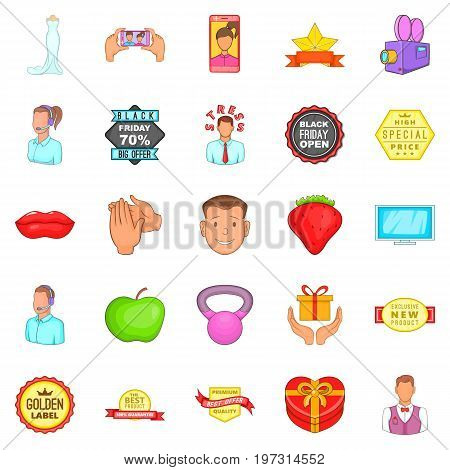 Ad icons set. Cartoon set of 25 ad icons for web isolated on white background