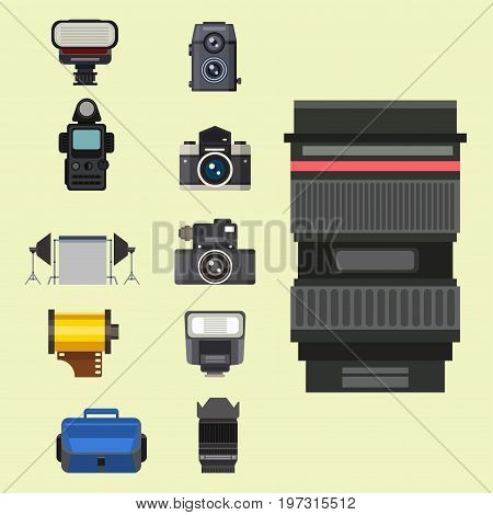 Camera photo optic lenses set different types objective retro photography equipment professional look vector illustration. Digital vintage technology electronic aperture device.