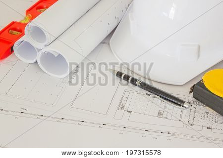 Engineering diagram blueprint paper drafting project sketch architectural Selective focus