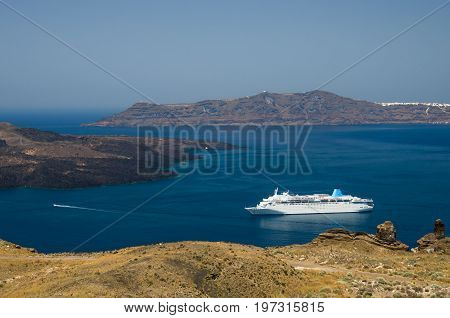Santorini, Cyclades Islands, Greece. Luxury cruise ship in the bay of Santorini