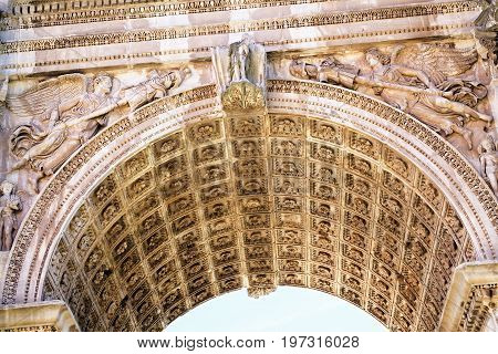 Rome Italy - October 12 2016: Fragment of Arch of Constantine in Rome Italy