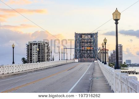 Opened draw bridge raised to let ship pass through at harbor in Fort Lauderdale Florida