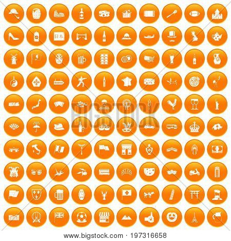 100 tourist attractions icons set in orange circle isolated on white vector illustration