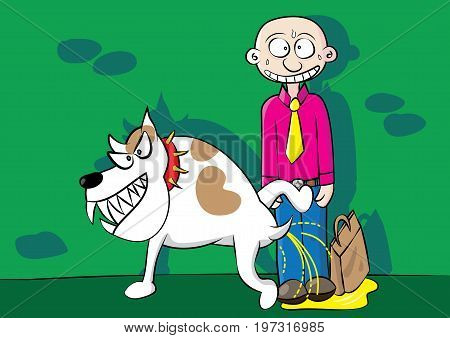 funny aggressive dog urinating marking territory problem vector illustration