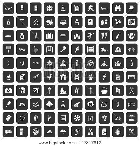 100 holidays family icons set in black color isolated vector illustration