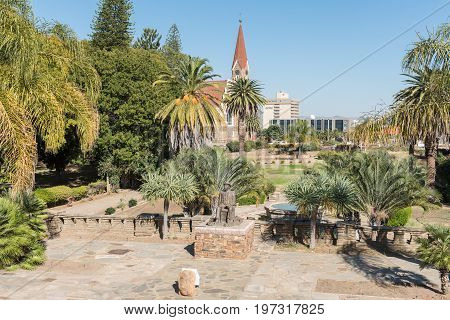 WINDHOEK NAMIBIA - JUNE 17 2017: Gardens at the Tintenpalast (German for