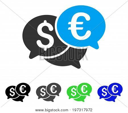 Currency Bids flat vector icon. Colored currency bids gray, black, blue, green pictogram variants. Flat icon style for graphic design.
