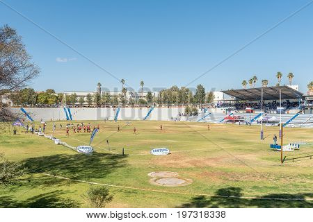 WINDHOEK NAMIBIA - JUNE 15 2017: The sport stadium of Windhoek High School founded in 1917 in Windhoek the capital city of Namibia