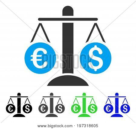 Currency Scales flat vector pictograph. Colored currency scales gray, black, blue, green icon variants. Flat icon style for web design.