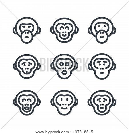 apes, monkey, chimp linear icons over white, eps 10 file, easy to edit