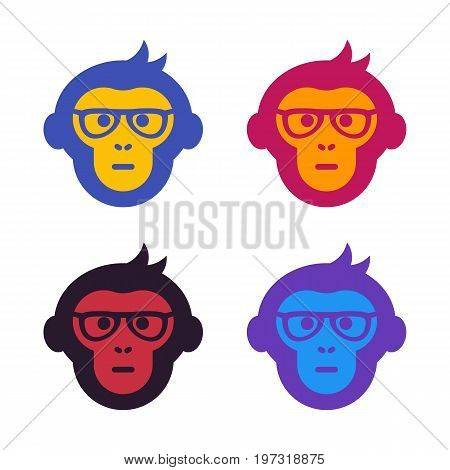 ape, monkey with glasses, vector illustration, eps 10 file, easy to edit