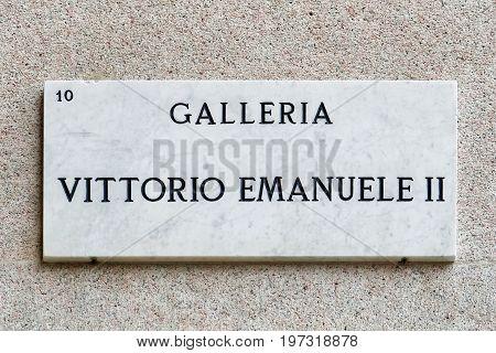 Galleria Vittorio Emanuele Street Sign Street Sign Of Wall Milan
