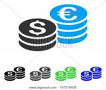 Dollar And Euro Coin Stacks flat vector pictograph. Colored dollar and euro coin stacks gray, black, blue, green icon variants. Flat icon style for web design.