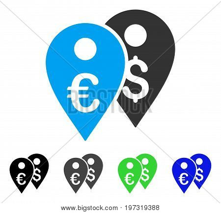 Euro And Dollar Map Markers flat vector pictogram. Colored euro and dollar map markers gray, black, blue, green pictogram versions. Flat icon style for web design.