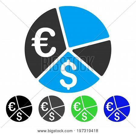 Euro And Dollar Pie Chart flat vector illustration. Colored euro and dollar pie chart gray, black, blue, green pictogram variants. Flat icon style for web design.